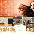 Logo, facade and interior design for a media-store